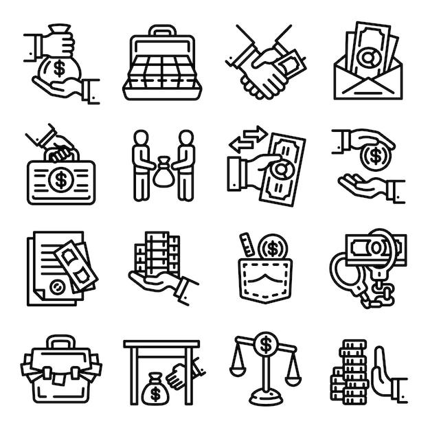 Set di icone di corruzione. delineare un insieme di icone vettoriali di corruzione per il web design isolato Vettore Premium