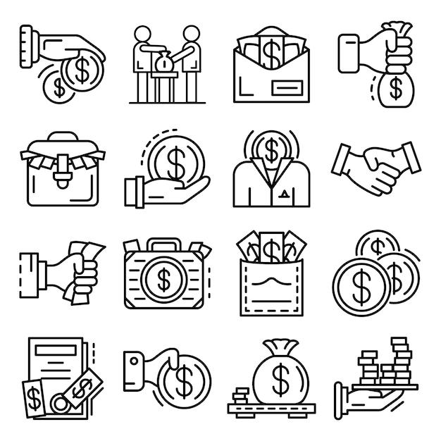 Set di icone di corruzione. delineare un insieme di icone vettoriali di corruzione Vettore Premium