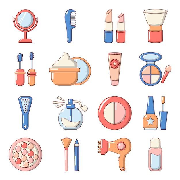 Set di icone di cosmetici Vettore Premium