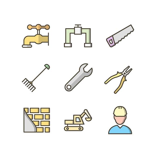 Set di icone di costruzione per uso personale e commerciale Vettore Premium