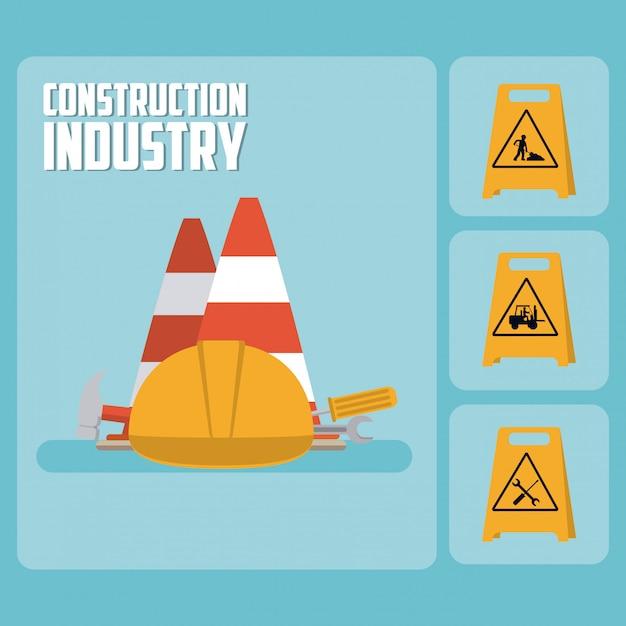 Set di icone di costruzione roadsign Vettore Premium