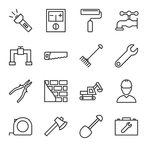 Set di icone di costruzione Vettore Premium