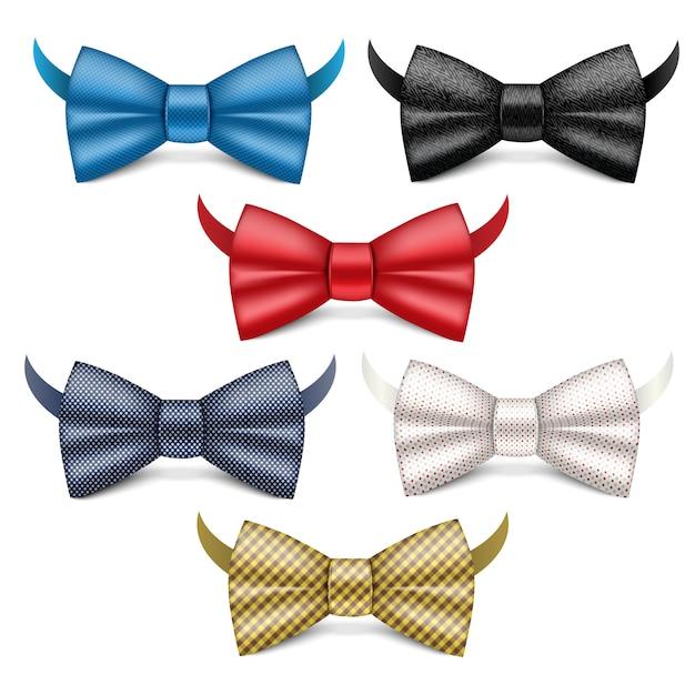 Set di icone di cravatta a farfalla. insieme realistico delle icone di vettore di cravatta a farfalla isolate Vettore Premium