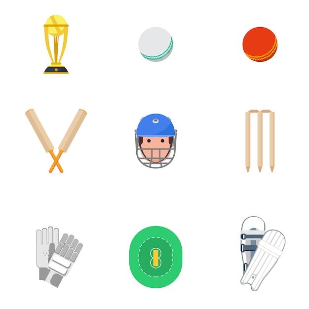 Set di icone di cricket piatte Vettore gratuito