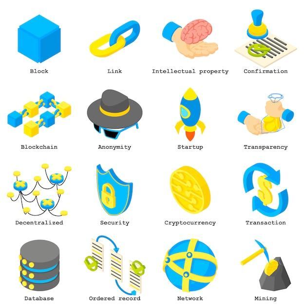 Set di icone di crypto denaro blockchain. illustrazione isometrica di 16 icone di vettore di denaro crittografico blockchain per il web Vettore Premium