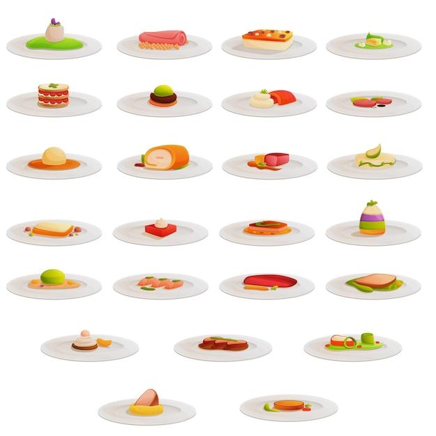 Set di icone di cucina molecolare, stile cartoon Vettore Premium
