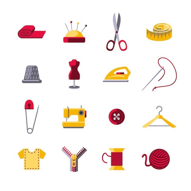 Set di icone di cucito Vettore gratuito