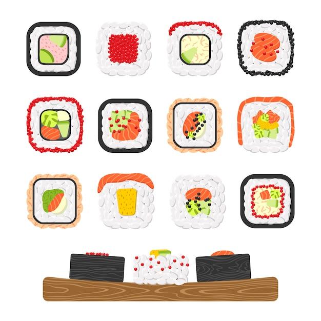 Set di icone di deliziosi involtini di sushi colorati Vettore Premium