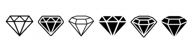 Set di icone di diamanti Vettore Premium