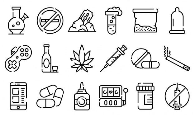 Set di icone di dipendenza, struttura di stile Vettore Premium