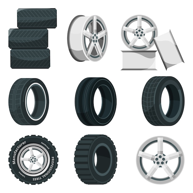 Set di icone di dischi diversi per ruote e pneumatici. Vettore Premium