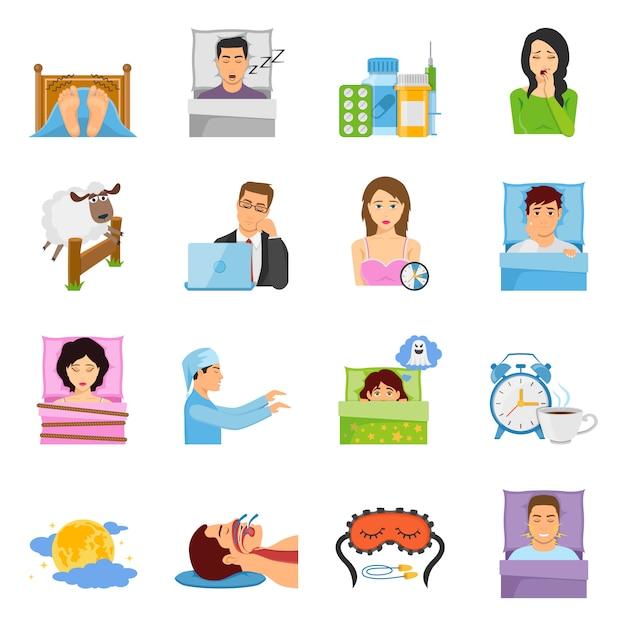 Set di icone di disturbi del sonno Vettore gratuito