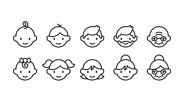 Set di icone di diverse fasce d'età di persone dal bambino all'anziano Vettore Premium