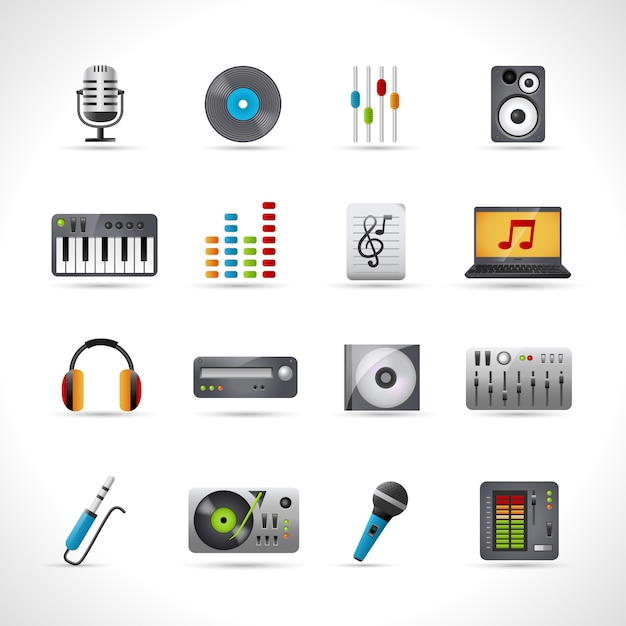 Set di icone di dj Vettore gratuito