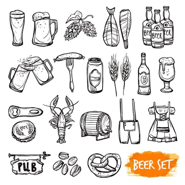 Set di icone di doodle di birra nera Vettore gratuito