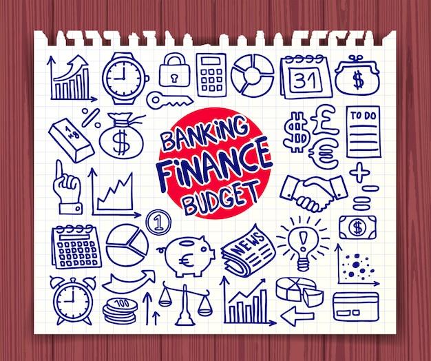 Set di icone di doodle finance, banking e budget Vettore Premium