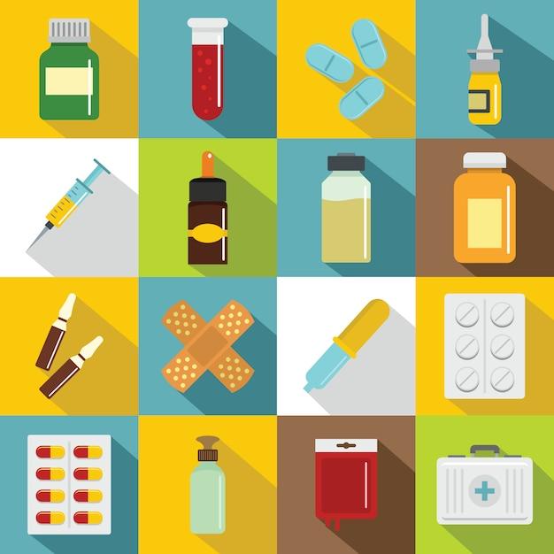 Set di icone di droghe differenti, stile piano Vettore Premium