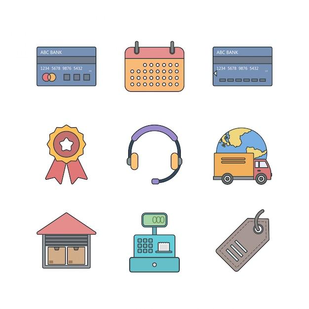 Set di icone di e-commerce per uso personale e commerciale Vettore Premium