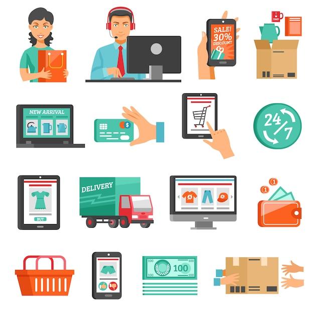 Set di icone di e-commerce Vettore gratuito
