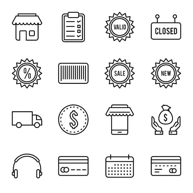 Set di icone di e-commerce Vettore Premium