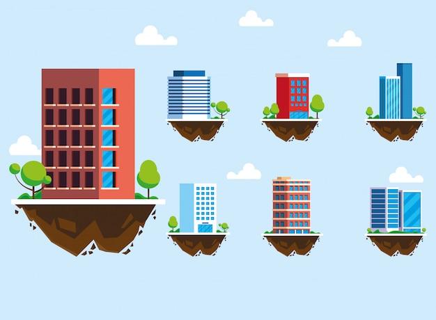 Set di icone di edifici sul terreno, paesaggio urbano Vettore Premium