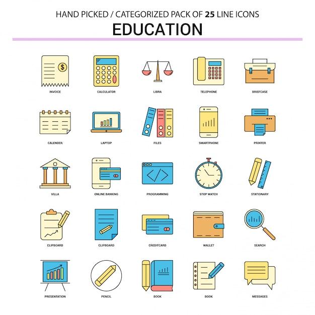Set di icone di educazione linea piatta Vettore Premium