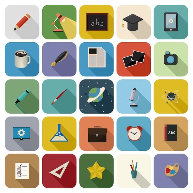Set di icone di educazione Vettore Premium