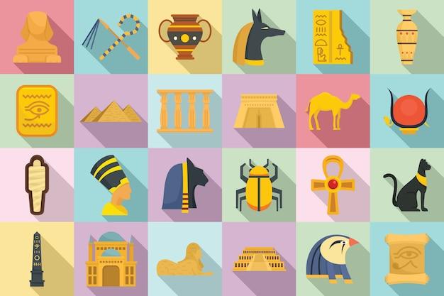 Set di icone di egitto, stile piano Vettore Premium