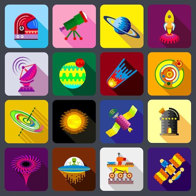 Set di icone di elementi dello spazio. Vettore Premium