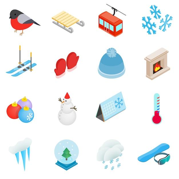 Set di icone di elementi di inverno Vettore Premium
