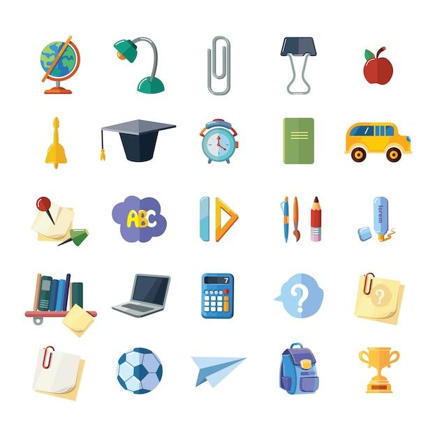 Set di icone di elementi di scuola Vettore Premium
