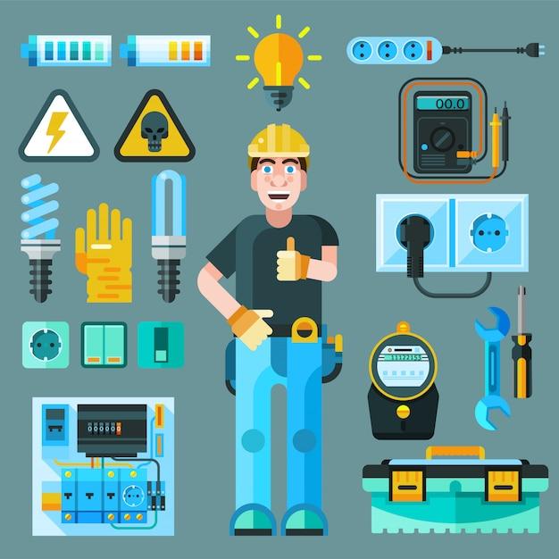 Set di icone di elettricista Vettore gratuito