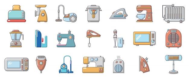 Set di icone di elettrodomestici. l'insieme del fumetto degli elettrodomestici vector le icone messe isolate Vettore Premium