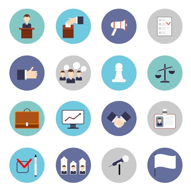 Set di icone di elezioni piatte Vettore Premium