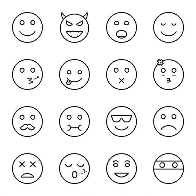 Set di icone di emoji Vettore Premium
