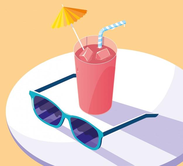 Set di icone di estate e vacanze Vettore Premium