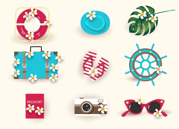 Set di icone di estate Vettore Premium