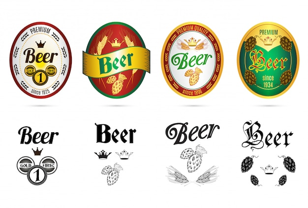 Set di icone di etichette popolari marche birra Vettore gratuito