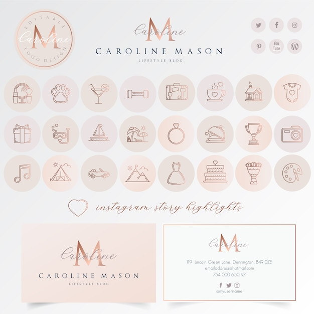 Set di icone di evidenziazione di instagram Vettore Premium