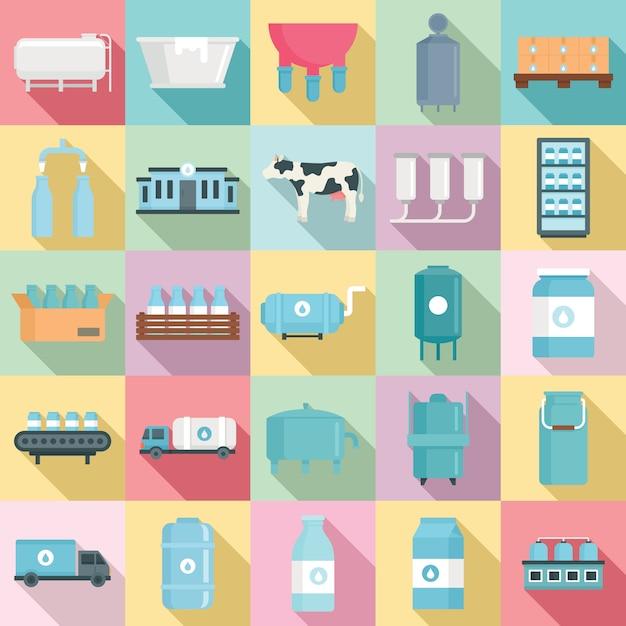 Set di icone di fabbrica di latte, stile piano Vettore Premium