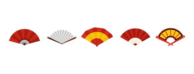 Set di icone di fan di mano. insieme piano della raccolta delle icone di vettore del ventaglio isolato Vettore Premium