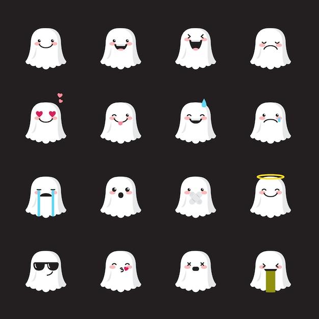 Set di icone di fantasma emoji Vettore Premium