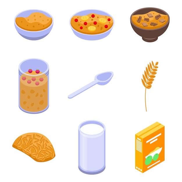 Set di icone di farina d'avena, stile isometrico Vettore Premium