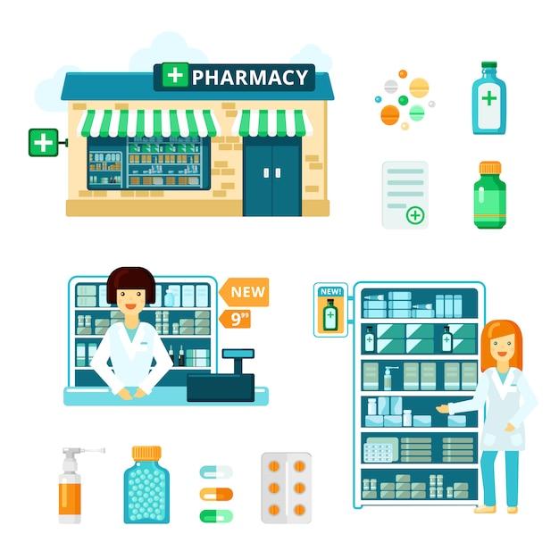 Set di icone di farmacia Vettore gratuito