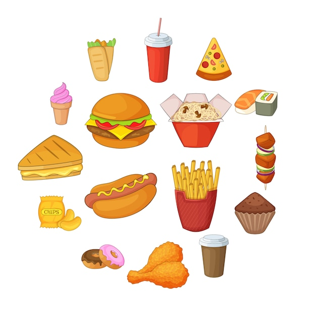 Set di icone di fast food, stile cartoon Vettore Premium