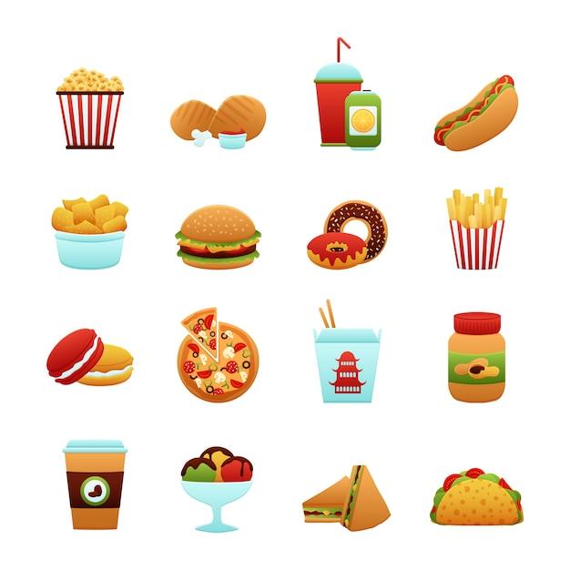 Set di icone di fast food Vettore gratuito