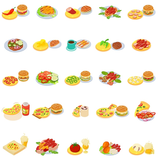 Set di icone di fast food Vettore Premium