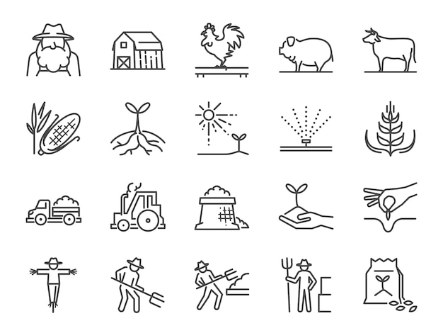 Set di icone di fattoria e agricoltura linea. Vettore Premium