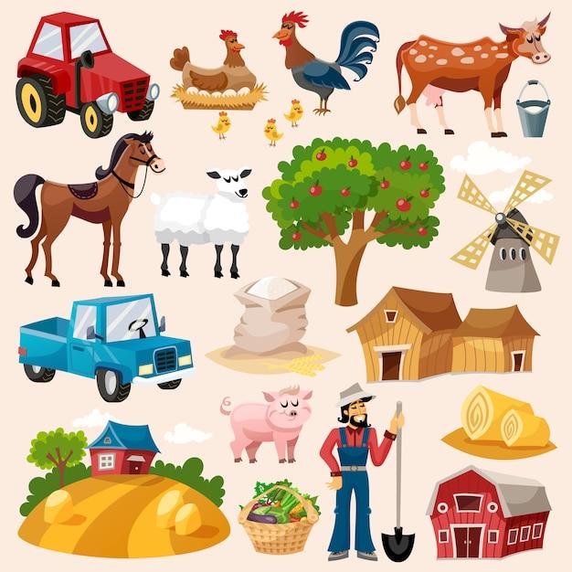 Set di icone di fattoria Vettore gratuito