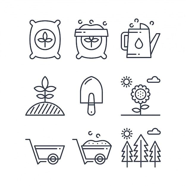 Set di icone di fertilizzante linea semplice Vettore Premium